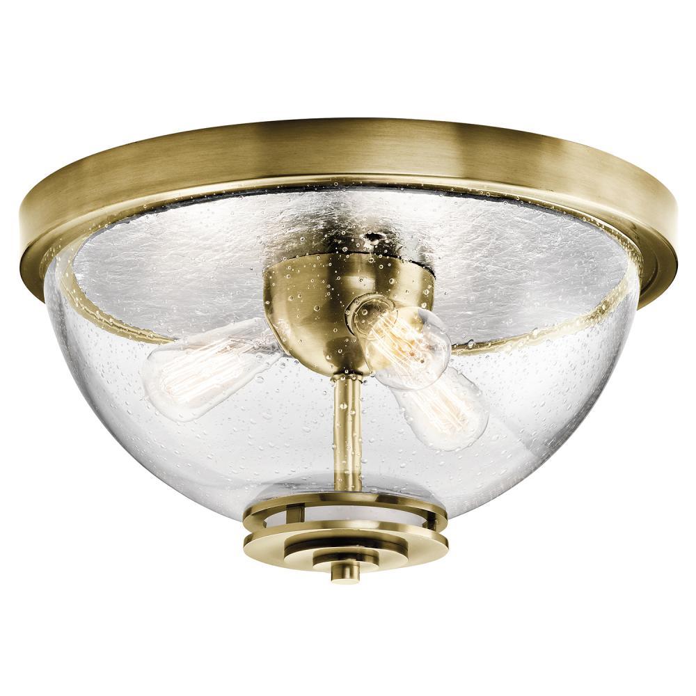 "KICHLER 8653AB Flush Mount Ceiling Light Antique Brass 100W 11/""W NEW IN BOX"