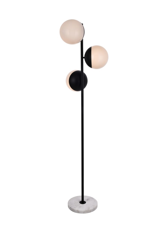 Details About Elegant Ld6158bk Eclipse 3 Lights Black Floor Lamp With Frosted White Glass