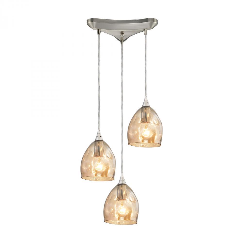 ELK Lighting 31595/3 Niche 3 Light Pendant In Satin Nickel ...